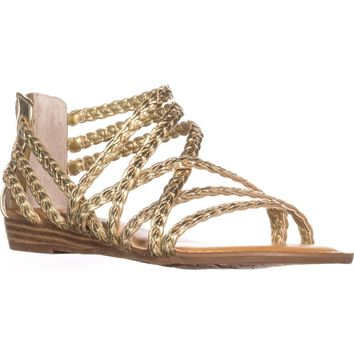 Carlos by Carlos Santana Amarillo Flat Strappy Sandals, Gold, 5.5 US / 35.5 EU