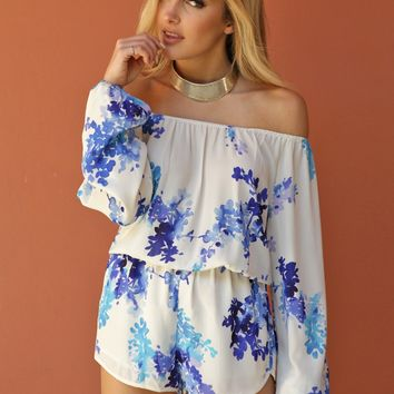 Olivaceous Floral Off the Shoulder Romper in Creme/Blue