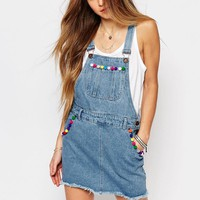 Liquor & Poker | Liquor & Poker Overall Dress with Raw Hem and Pom Poms at ASOS