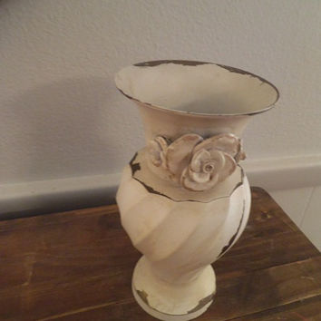 Vintage chippy White Shabby Chic Vase with applied Roses ~ Romantic Cottage