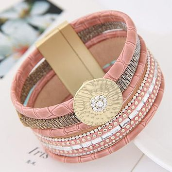 Wide Bracelet with Magnetic Buckle