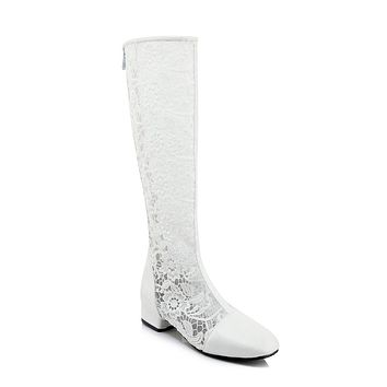 Cutout Lace Tall Boots Winter Shoes for Woman 5841