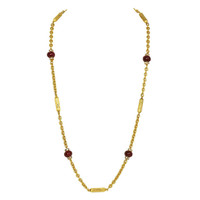 CHANEL Goldtone Chain Necklace W/Red Glass Beads And Rhinestone Spacers