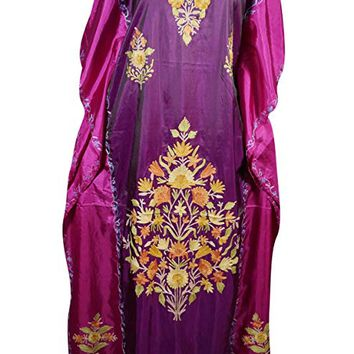 Mogul Interior Womens Kimono Kaftan Double Shaded Silk Embroidered Caftan One Size: Amazon.ca: Clothing & Accessories