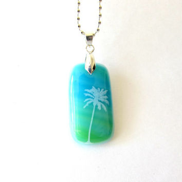 Palm Tree Glass Necklace Pendant - Free Shipping