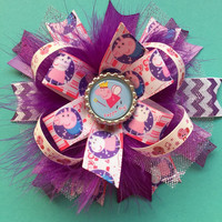 Peppa Pig boutique hair bow , purple stacked peppa pig hairbow