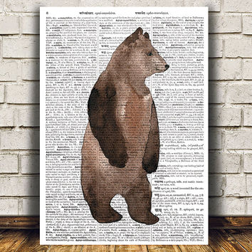 Grizzly print Dictionary art Bear poster Animal print RTA1461