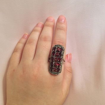 Genuine Garnet Ring with Marcasite in Sterling Silver