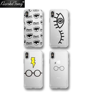KlarkeTong Smile Eye Harry Potter Case Cover For iPhone XS MAX XR 7 6 8 PLUS Silicone Transparent Luxury Soft Phone Shell Coque