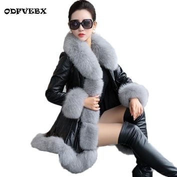Boutique Winter new women pu leather coat fashion fox fur collar down cotton women leather mid-length Slim fur jacket ODFVEBX