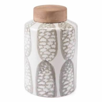 Feather Large Covered Jar Ivory & Sage Grn