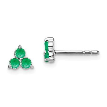 14k White Gold Created Emerald 3-Stone Cluster Earrings