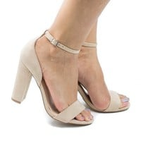 Morris02 Natural By Wild Diva, Open Toe Ankle Cuff Chunky Heeled Sandals