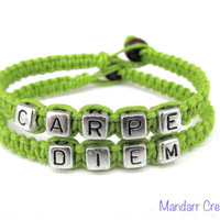 Carpe Diem, Seize the Day, Lime Green Handmade Hemp Jewelry, Inspirational Gift