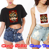 Five Finger Death Punch logo 4b5100ea-d9cf-41d6-bc30-5bf7b4a99113 For Crop Shirt and Crop Tank Sexy Shirt Women S, M, L, XL, 2XL*02*