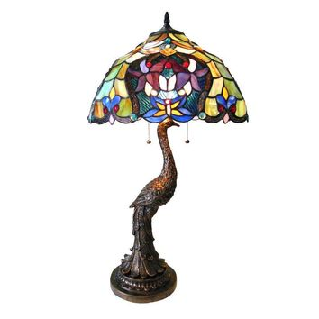 "Persia, Tiffany-Style 2 Light Floral Table Lamp 17"" Shade"