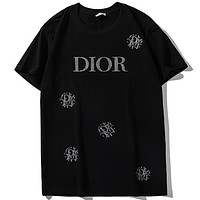 DIOR 2019 new chest letter print short sleeve loose fashion T-shirt Black