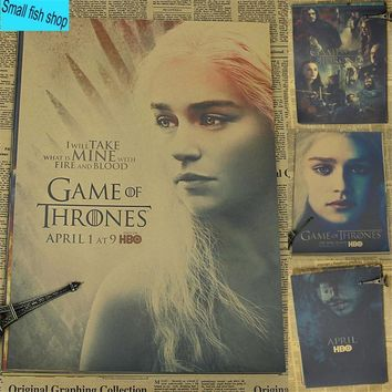 Game of Thrones B gather Home Furnishing decoration Kraft Movie Poster Drawing core Wall stickers