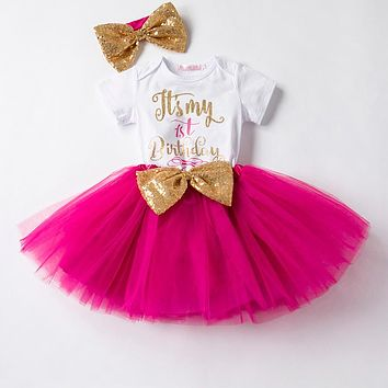 Newborn Baby First Birthday Outfit Dress Baby Girl Summer Clothes Suits Infant Product Clothing Kids Clothes Girl Baby Gift