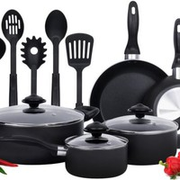 Non Stick Cookware Set Pans And Pots 13 Piece Coating Cooking Kitchen Black New
