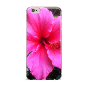 "NL Designs ""Tropical Pink Hibiscus"" Pink Floral iPhone Case"
