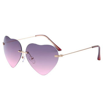 Heart Shape Rimless Frame Sunglasses