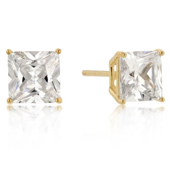 7mm New Sterling Round Cut Cz Studs Gold