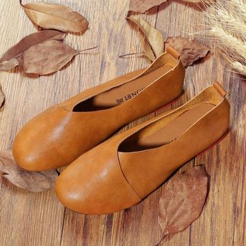 2017 Original Vintage Art handmade shoes Brand Genuine Leather Flats Women Shoes Shall