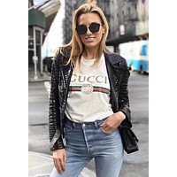 Gucci Summer Hot Sale Women Men Leisure Letters Print T-Shirt Top Blouse White
