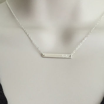 Tiny Skinny Sterling Silver Bar Necklace. Coordinates Necklace. Monogrammed Name Plate. Delicate Layering Necklace. Engraved Skinny Bar.