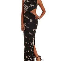 Black/White Knotted Cut-Out Tie-Dye Maxi Dress by Charlotte Russe