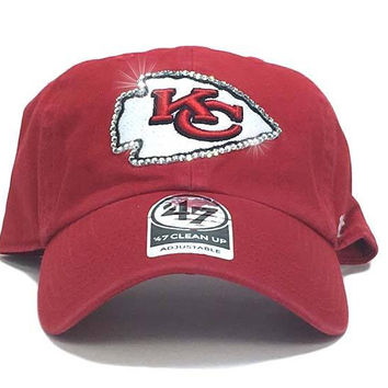 Kansas City Chiefs '47 Brand Adjustable Cap + Custom Swarovski Crystals