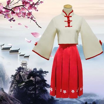 VOCALOID 3 China Project Luotianyi Luo Tianyi Sesame Paste the Chinese Dress Full Set Cosplay Costumes Cheongsam Tops Red Skirt