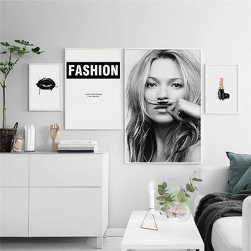Scandinavian Super Model Kate Moss Canvas Art Print Wall Poster/Painting/Pictures for Living Room Bedroom Wall Art Home Decor Fr