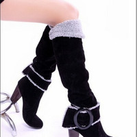 New arrival high quality fashion Snow Boots High Heels Knee High Winter Shoes for Women Sexy Warm Fur Buckle Fashion Boots = 1931543492