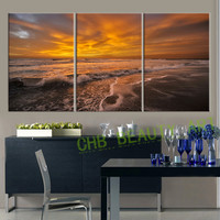 3 Piece Canvas Wall Art Sea Wave Painting  Wall Pictures For Living Room Home Decoration Canvas Print Unframed