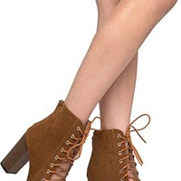 Lace Up Peep Toe Chunky Heel - Trendy Wood Block Heel Bootie - Open Toe Boot - Corrine by