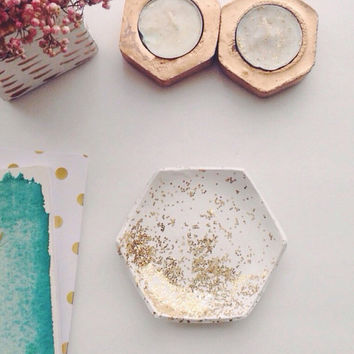 Hexagon Jewelry Dish/White and Gold Jewelry Dish/Honeycomb Jewelry Dish/Glitter Jewelry Dish