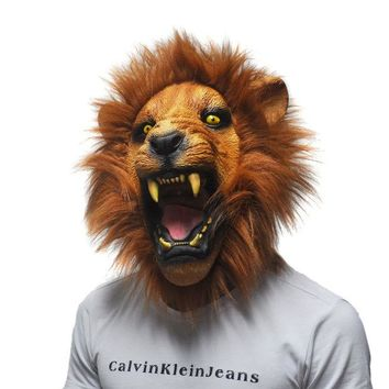 VONE2B5 Halloween Props Adult Angry Lion Head Masks Animal Full Latex Masquerade Birthday Party Rubber Silicone Face Mask Fancy Dress