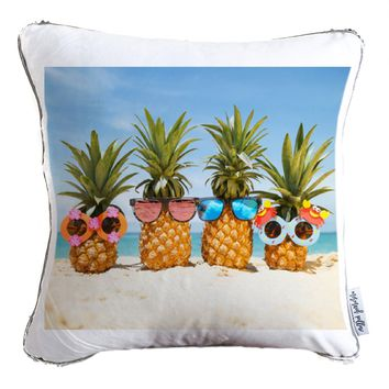 Sweet Summer Time Decorative Throw Pillow w/ Reversible Gold and White Sequins | COVER ONLY (Inserts Sold Separately)