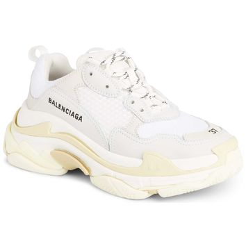 Ladies White on White Triple S by Balenciaga