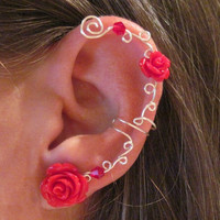 "Non Pierced Ear Cuff  ""Roses are Red"" Cartilage Conch Cuff Silver tone and Lucite Roses Wedding Prom Quinceanera"