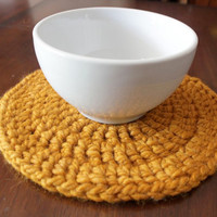 Crochet Hot Pad in Gold Orange Butterscotch - Placemats - Trivet - Handmade Knit Housewares