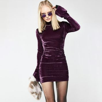 Long Sleeve Women's Fashion Winter Hot Sale Suede Stylish Ladies One Piece Dress [96254853135]