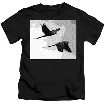 Parrots Drawing - Kids T-Shirt