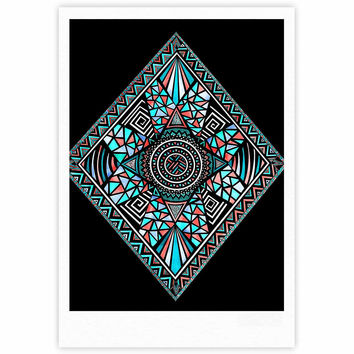 "Pom Graphic Design ""Geo Glass"" Teal Black Fine Art Gallery Print"