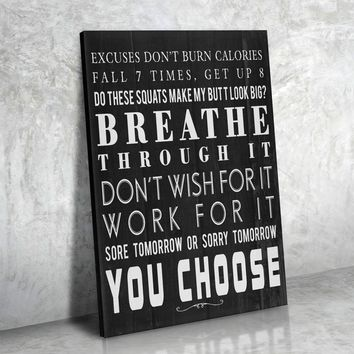 Breathe Through It Framed Canvas Wall Art Gym Fitness Decor Workout Exercise Motivation Art