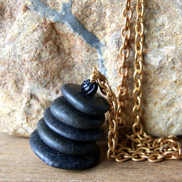 Black Cairn Necklace - Cairn Necklace - Cairn Pendant - black beach stone necklace - vintage brass chain - Cairn Jewelry - boho chic