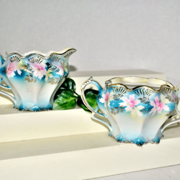 Vintage Antique R.S.Prussia Porcelain Schlegelmilch Creamer and Sugar, Prussia Cream Pitcher, Prussia Sugar Bowl, Germany