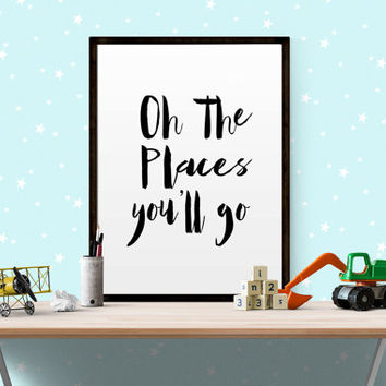 oh the places you will go wall art Oh, the places you'll go nursery Watercolor Print Children's Wall Art Printable Kids Room Decor NURSERY